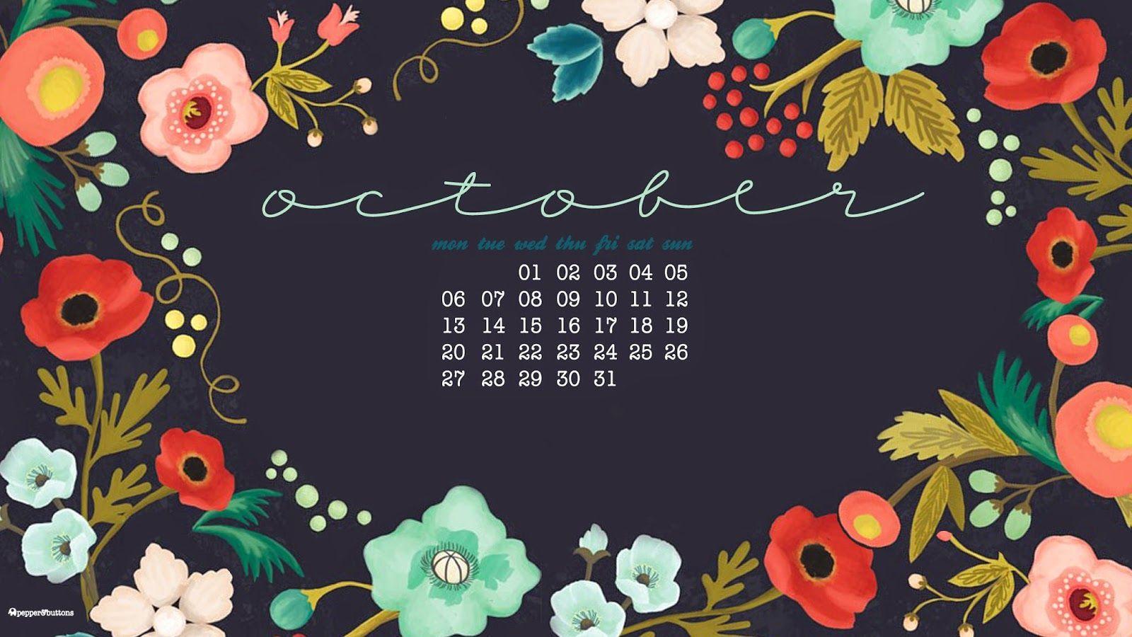 Pretty black floral October calendar Calendar ideas