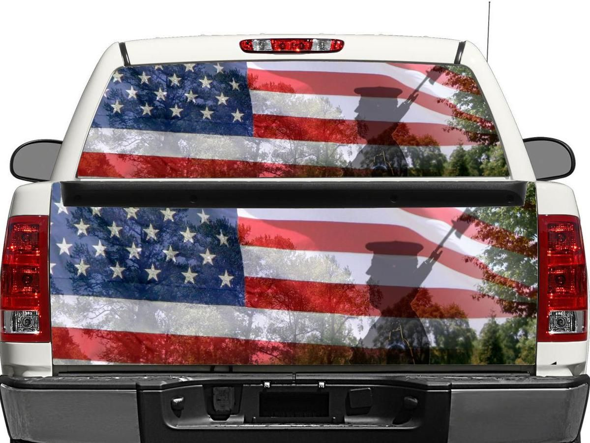 USA! Pick-Up Truck Perforated Rear Window Wrap