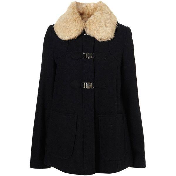 Short Fur Collar Swing Coat ($150) ❤ liked on Polyvore