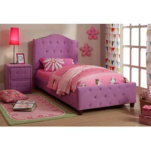 Diva Upholstered Twin Bed And Nightstand Set Purple Muebles