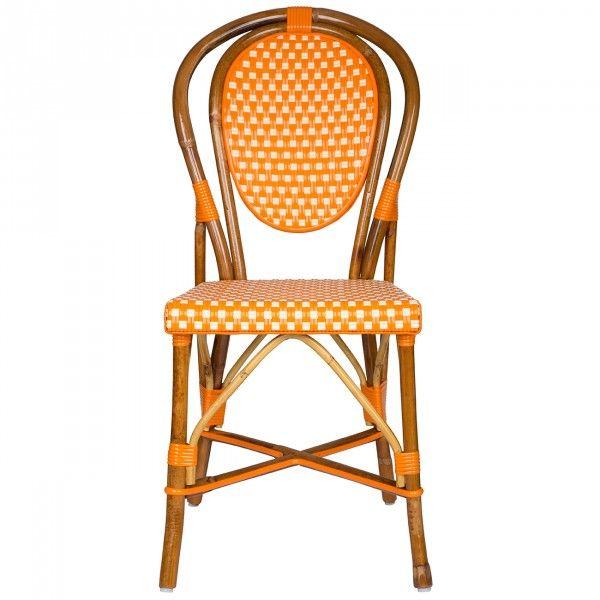 Phenomenal Orange And Cream Mediterranean Bistro Chair E Bistro Home Interior And Landscaping Ponolsignezvosmurscom