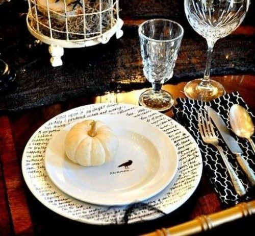 Spooky But Elegant Halloween Table Setting Beware the Birds! Black - halloween table setting ideas