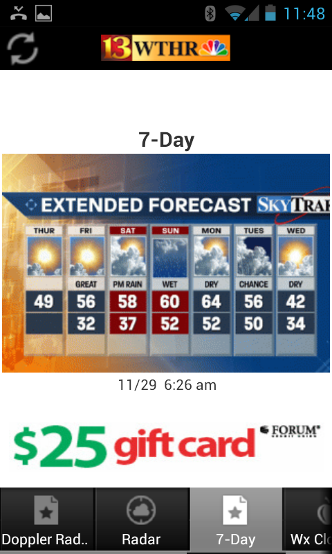 Extended, 7day forecast in the WTHR Android weather app
