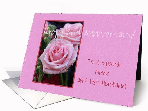 2nd Anniversary Niece Husband Pink Roses Greeting Card