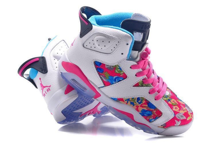 Womens-Air-Jordan-6-GS-Floral-Custom-White-