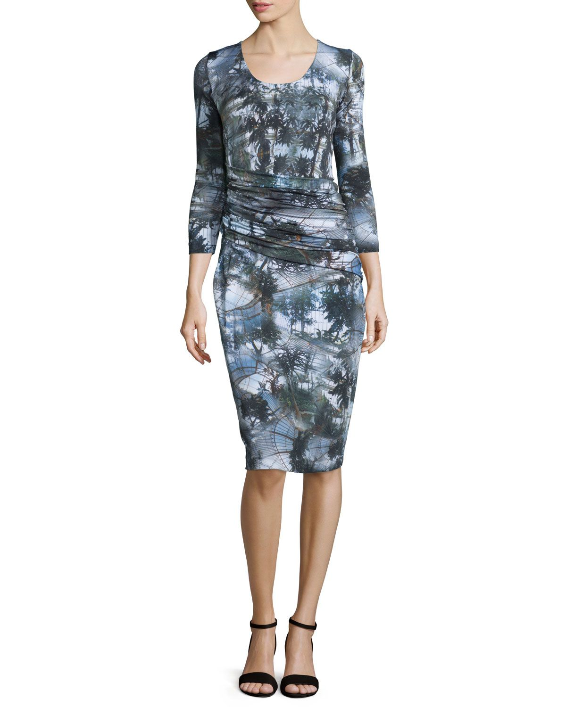 3/4-Sleeve Palm Tree Wrap Dress, Forest Green, Size: 36 - Escada