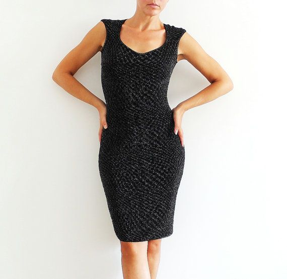Bodycon Black Shiny Dress Cocktail Evening by CrinolinAtelier