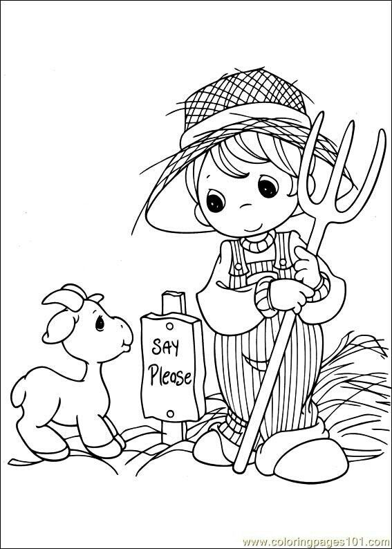 Farmer Boy With Goat Precious Moments Coloring Pages Angel