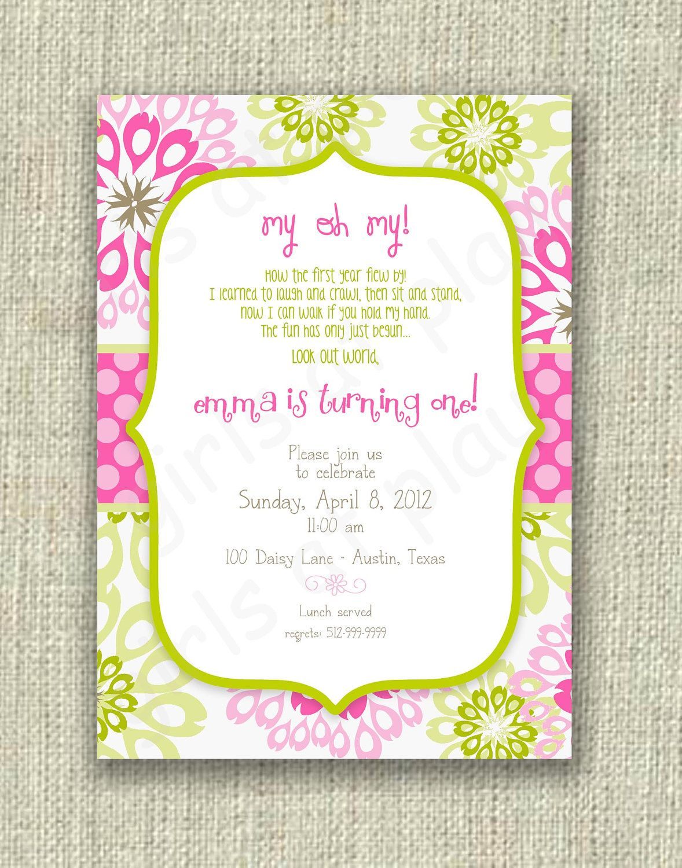 Girl 1st First Birthday Invitation Pink Mint Green label set - Print ...