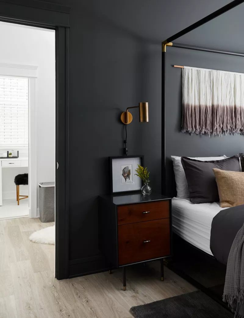 16 Dark Bedroom Ideas For A Moody And Dramatic Space Dark Bedroom Walls Gray Bedroom Walls Bedroom Interior