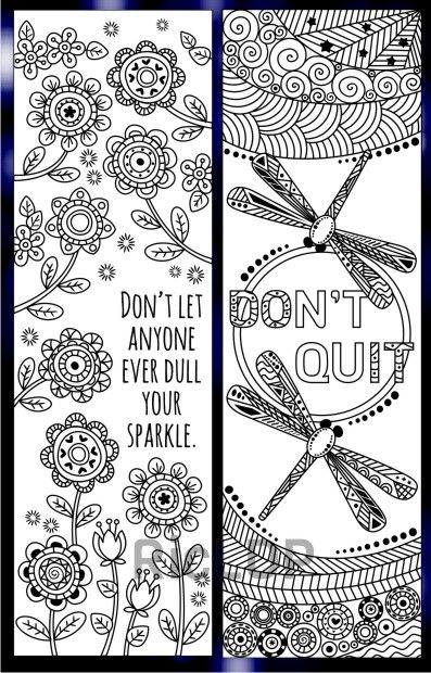 8 Coloring Bookmarks With Quotes Coloring Bookmarks Bookmarks Kids Book Markers