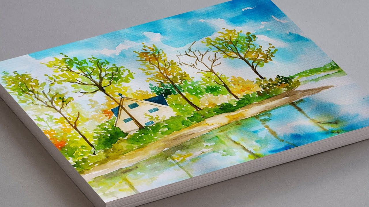 Watercolor Painting For Beginners How To Draw Autumn Scenery Easy Fa Watercolor Paintings Autumn Scenery Autumn Painting