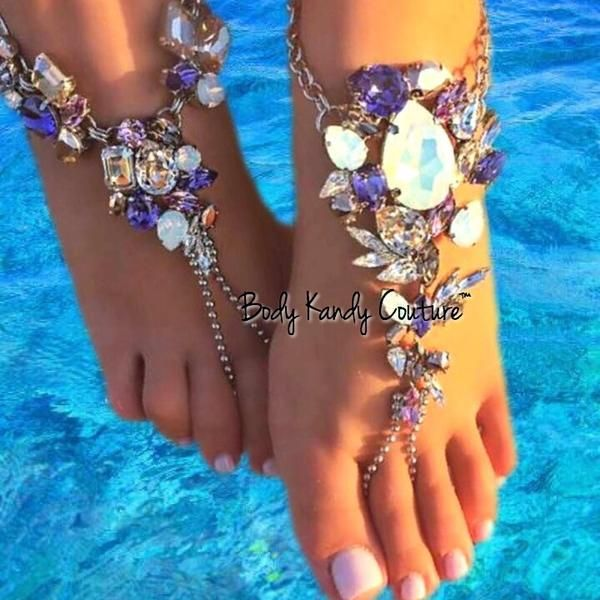 Samaria Crystal BareFoot SandalsAnkle Foot JewelryBody Kandy