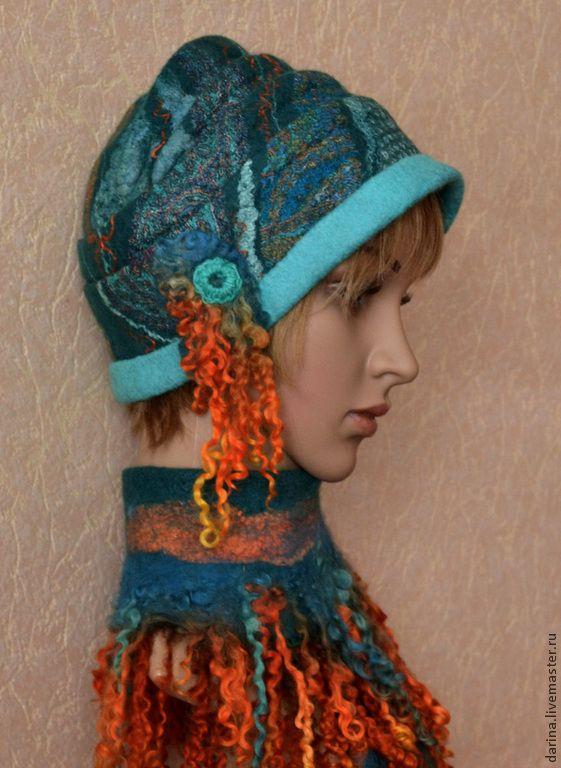 """Купить шапочка валяная """"Бирюзовая мечта"""" - темно-бирюзовый, валяная шапка, Валяная шапочка"""
