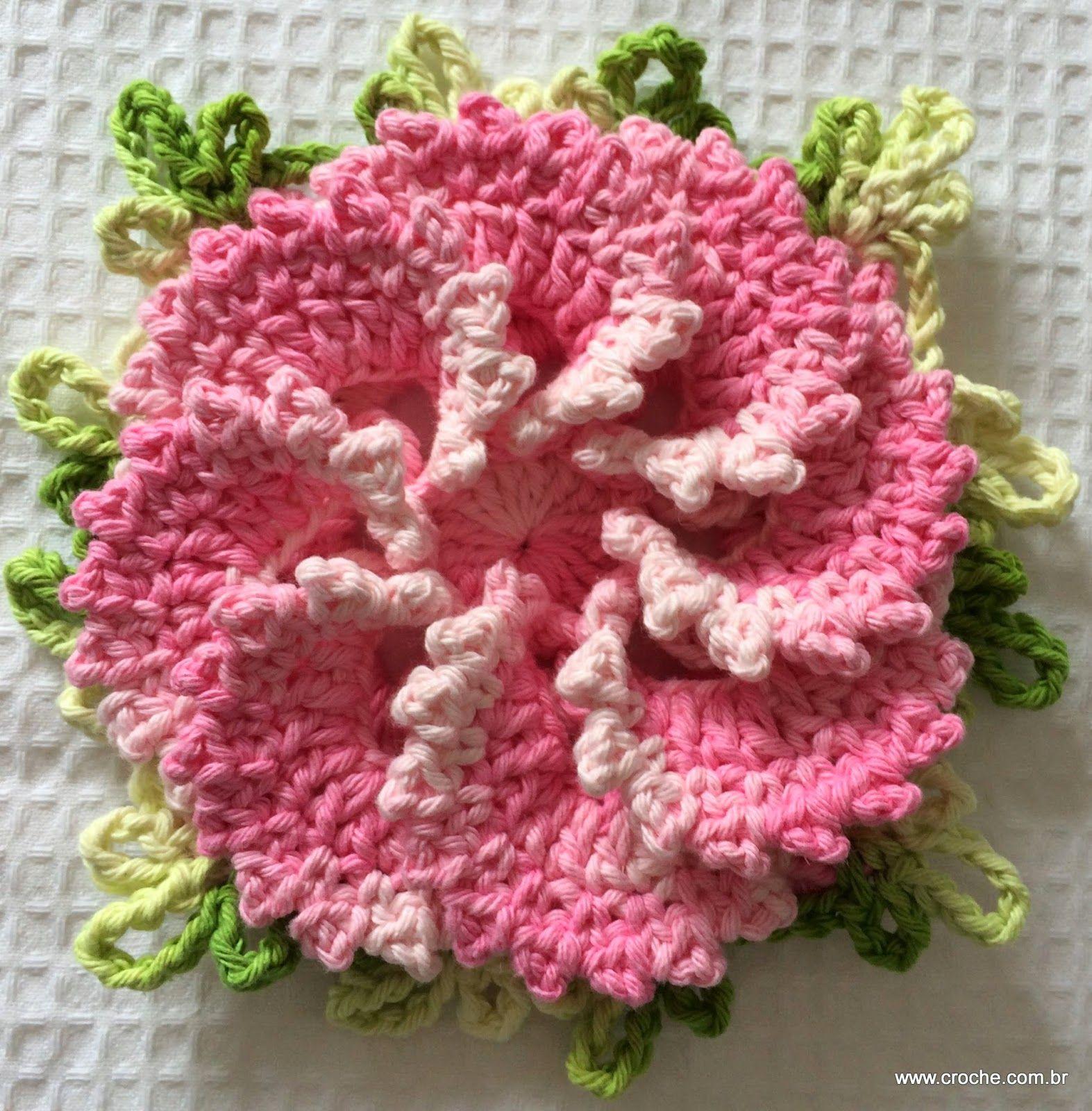 Flor primavera passo a passo | Blumen häkeln, gehäkelte Blumen und ...