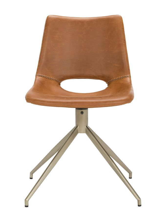 Danube Midcentury Modern Leather Swivel Dining Chair On Gilt Glamorous Leather Swivel Dining Room Chairs Design Decoration