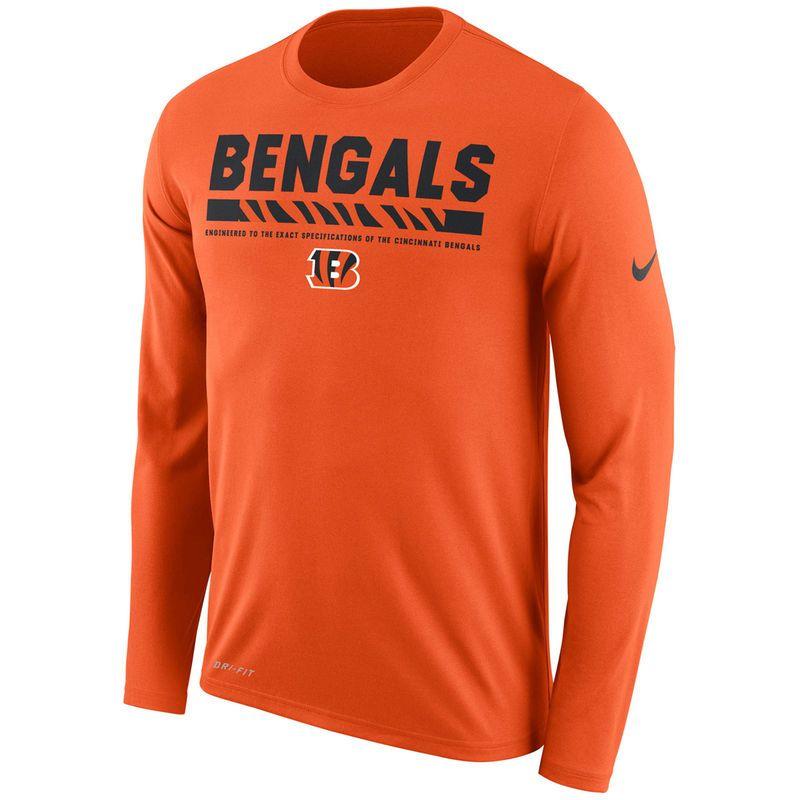 Men s Nike Orange Cincinnati Bengals Sideline Legend Staff Performance Long  Sleeve T-Shirt 558d394fc