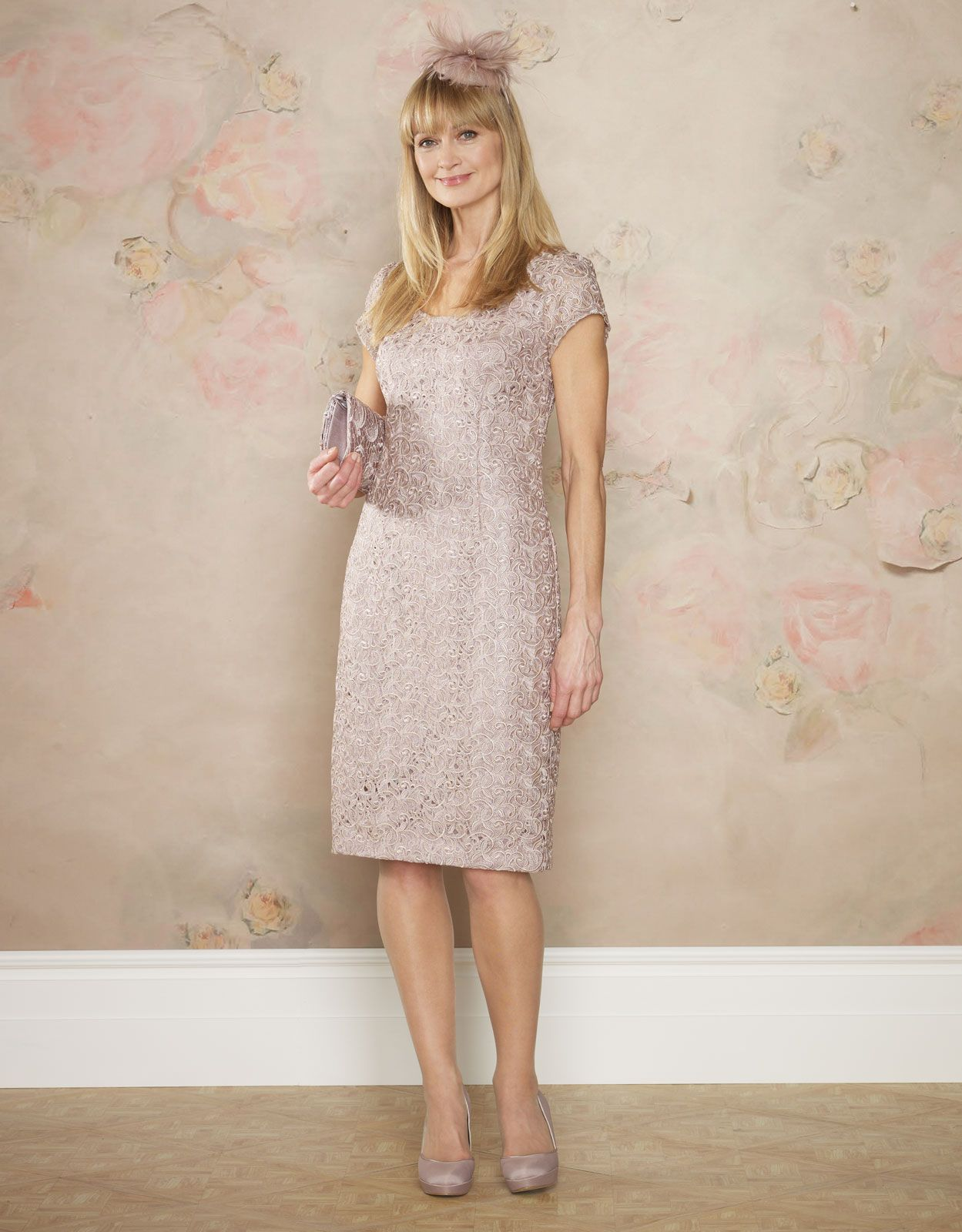 Chic nude lace dress with concealed zip and short sleeves. With a ...