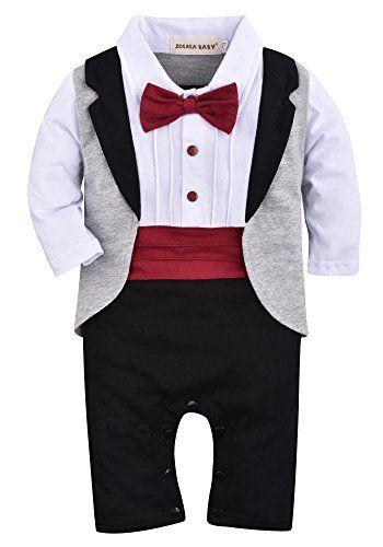 d816863db340 ZOEREA 1pc Baby Boys Tuxedo Gentleman Onesie Romper Jumpsuit Wedding Suit 3- 18 M -