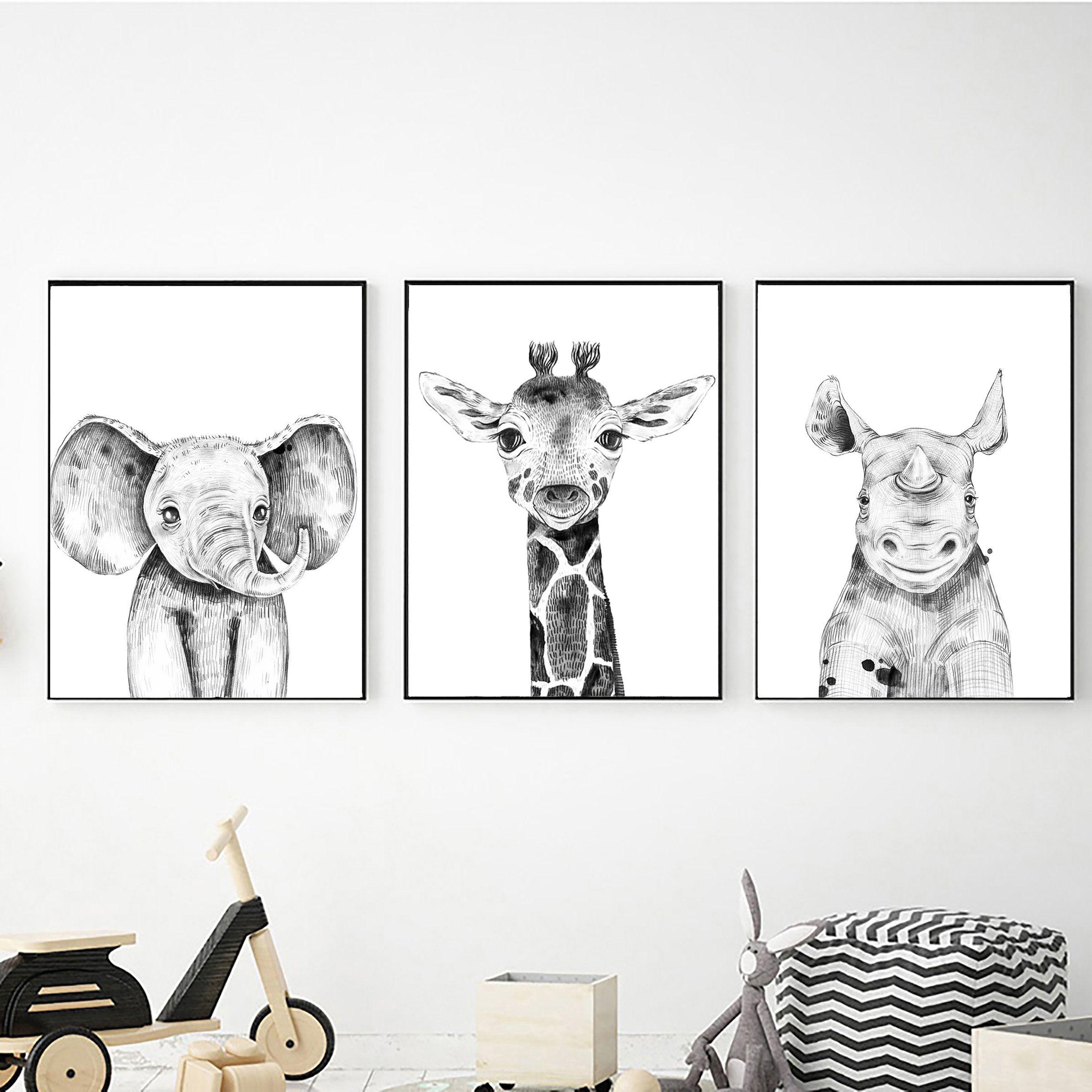 Set Of 3 Safari Animals Printable Wall Art Digital Download Etsy In 2021 Safari Animal Wall Art Safari Wall Art Safari Theme Nursery