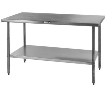 a stainless commercial prep table is cheaper than an island means you have to dust. beautiful ideas. Home Design Ideas