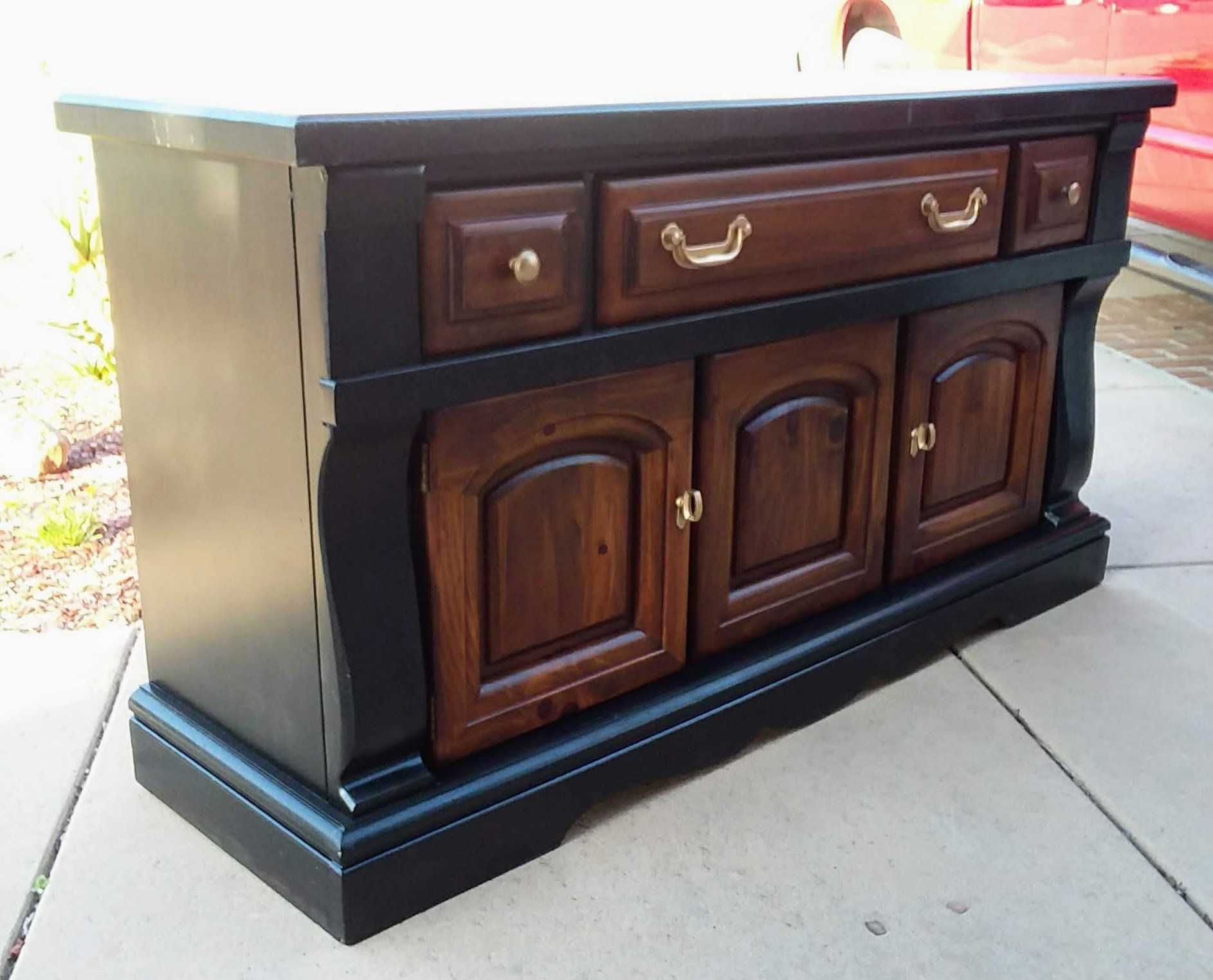 Black farmhouse colonial dining sideboard buffet server