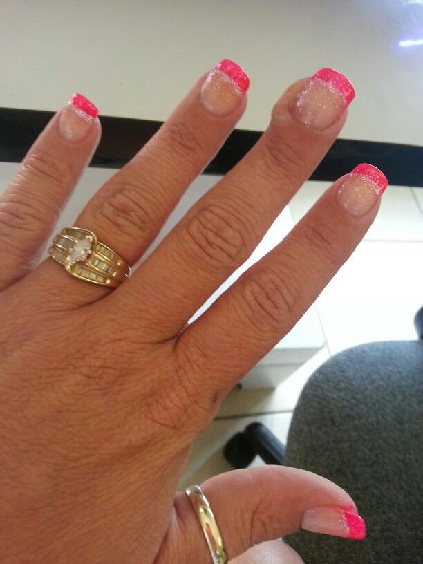 Hot Pink Tip With Silver Line And Clear Glitter Top Coat 0 Glitter Top My Nails Nail Designs