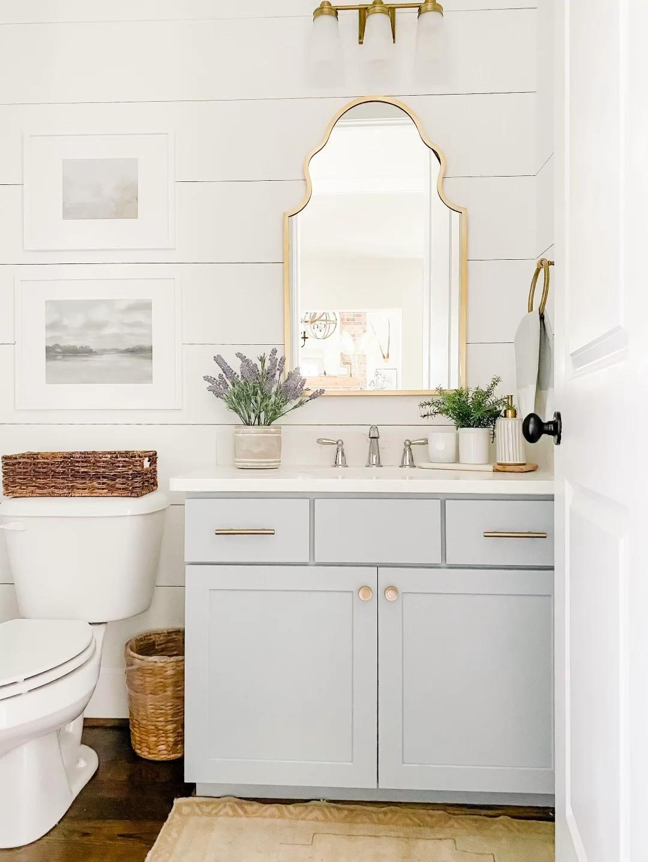 Photo of DIY Painted Bathroom Cabinets: Coastal Farmhouse Powder Bathroom Renovation