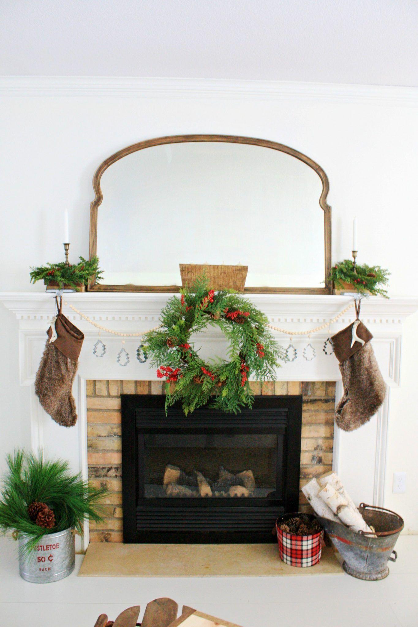 A Rustic Christmas Mantel Rustic Christmas Mantel Christmas