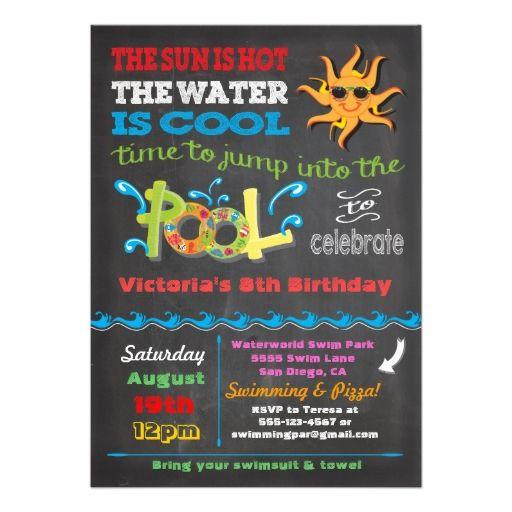 Chalkboard Birthday Pool Party Invitation  Boys Birthday