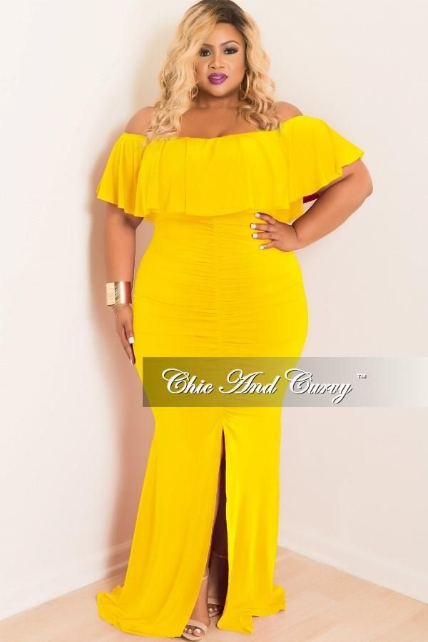 d9077a561fb Plus Size Ruched BodyCon Long Dress with Off the Shoulder Ruffle – Chic And  Curvy