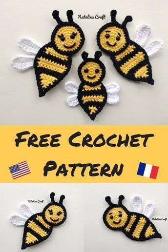 Bee Appliques : Free and easy crochet patterns