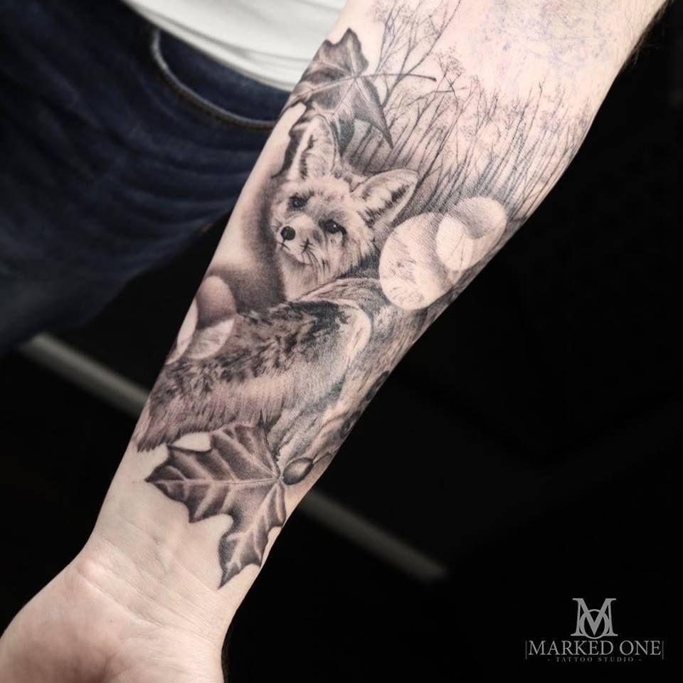 Realism Forest Scenery Tattoo Black And Grey Animal Tattoo Fox Tattoo By Adam Thomas Of Marked One Tattoo Scenery Tattoo First Tattoo Tattoos