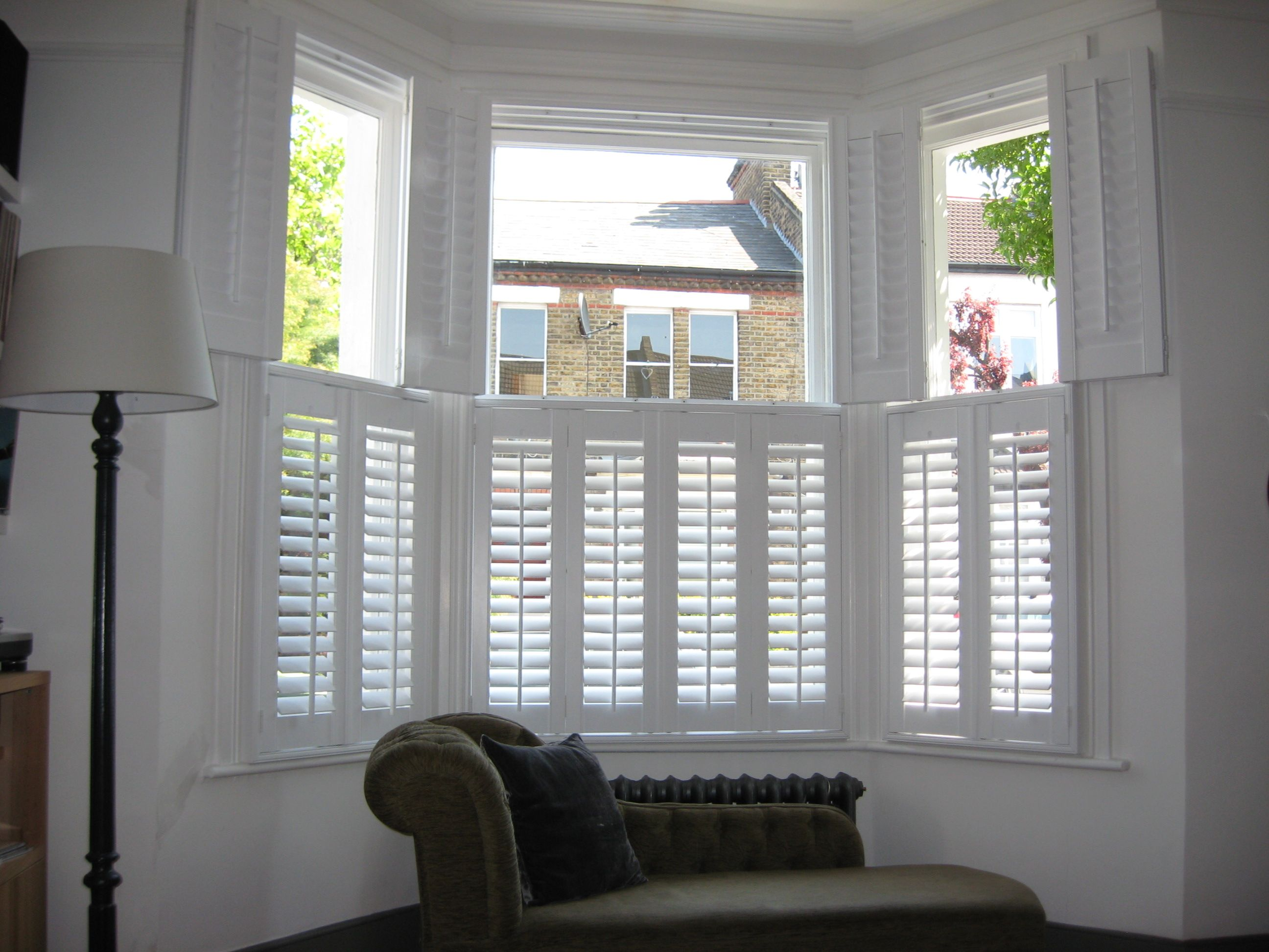 Need shutters like this for bay window White room decor