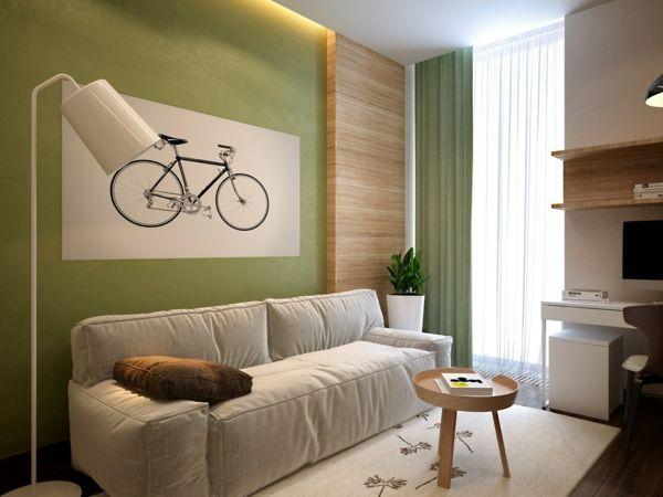 Wohnideen Wohnzimmer Ein Ruhiges Gefühl Durch Die Farbe Grün Vermitteln