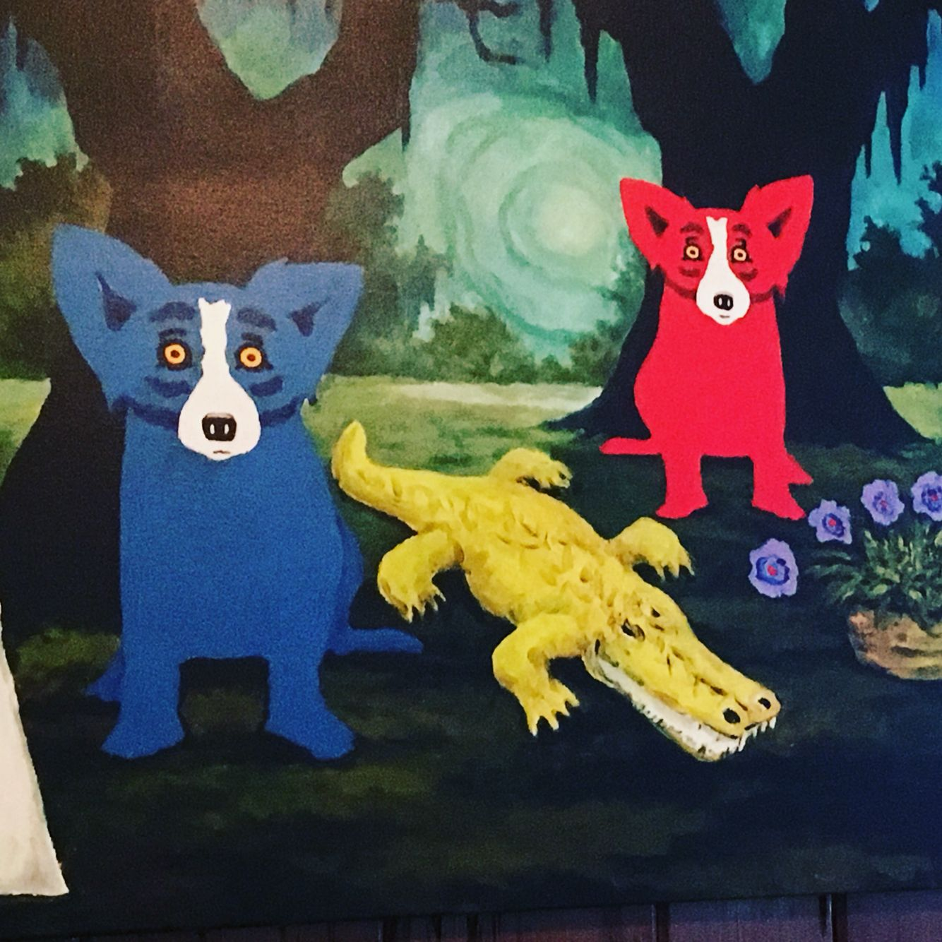 Louisiana art by Rodrigue Blue Dog with friends