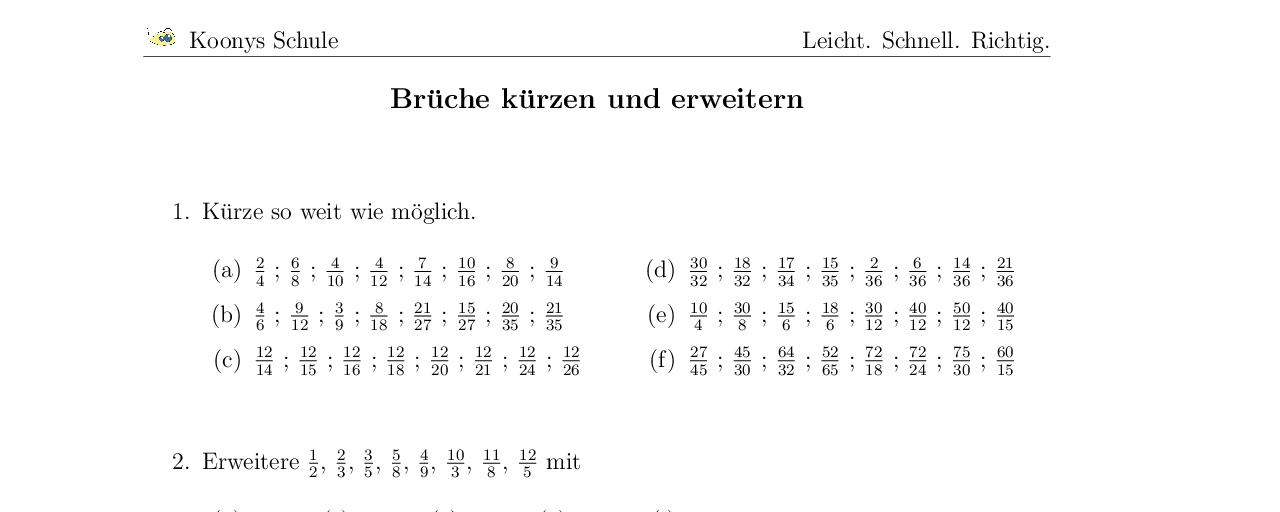 Vorschaubild des Übungsblattes Brüche kürzen und erweitern | Mathe ...