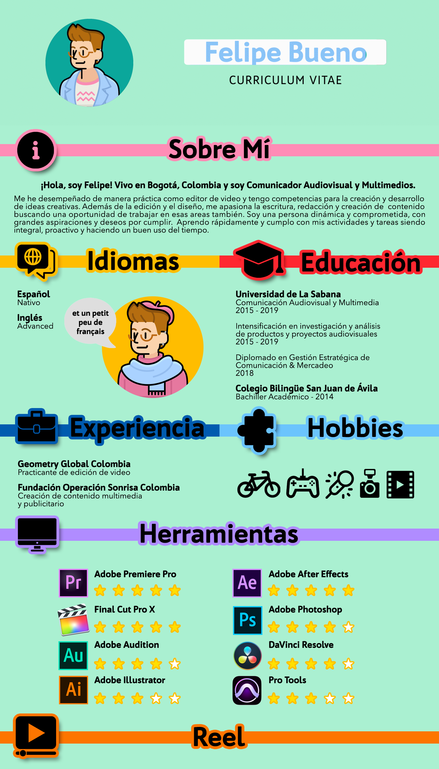 Illustrated Resume Cv With Video Reel Creative Cv Of Felipe Bueno Infographic Resume Cv Design Creative Graphic Resume