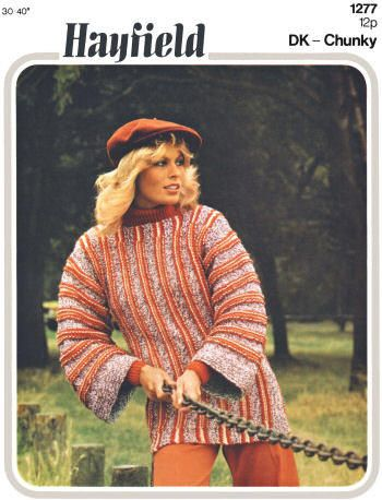 Striped Pullover Sweater & Over Sweater Vintage Knitting Pattern for download Bust 30-40