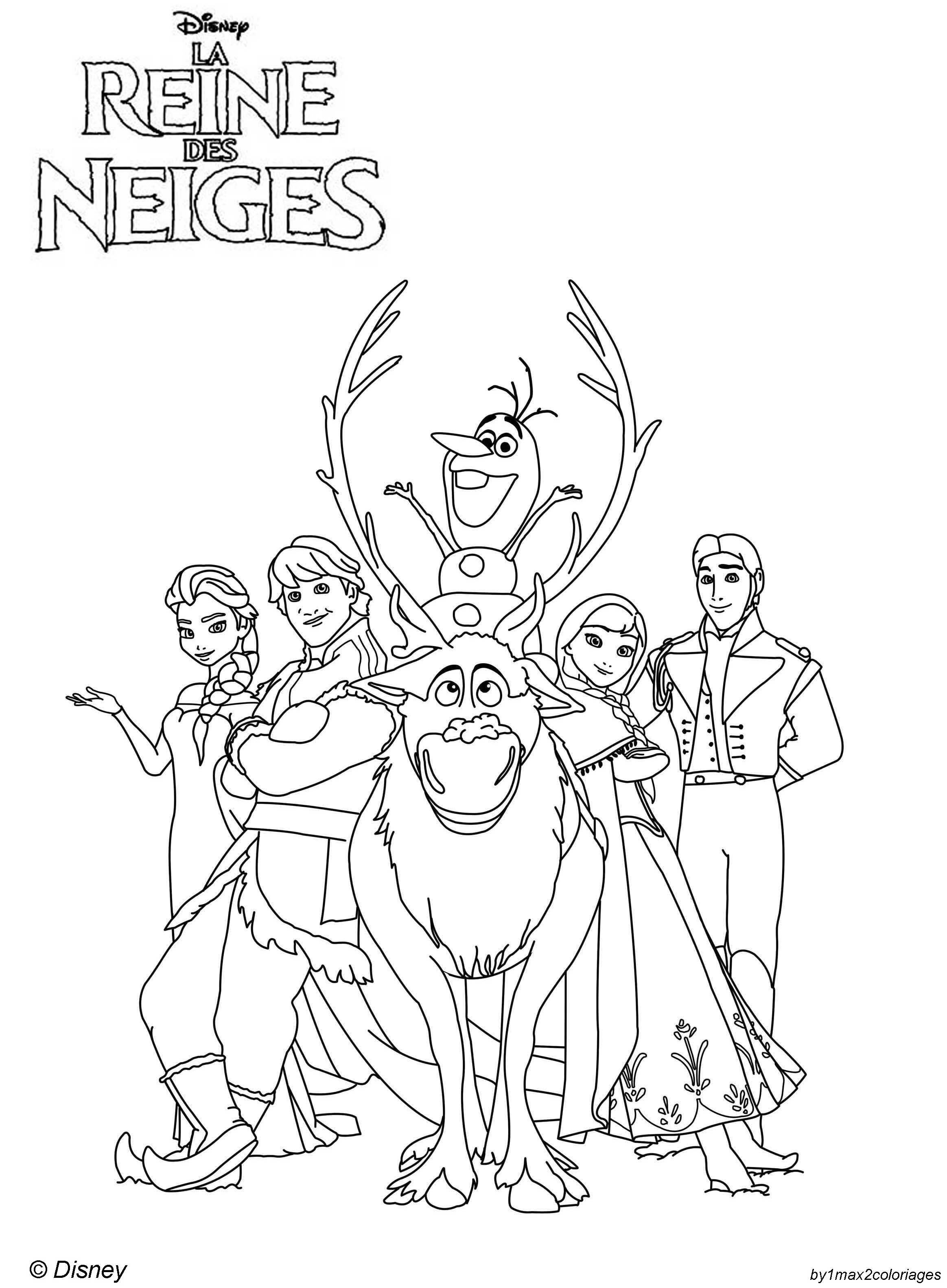 Coloriage Reine des Neiges  Disney princess coloring pages