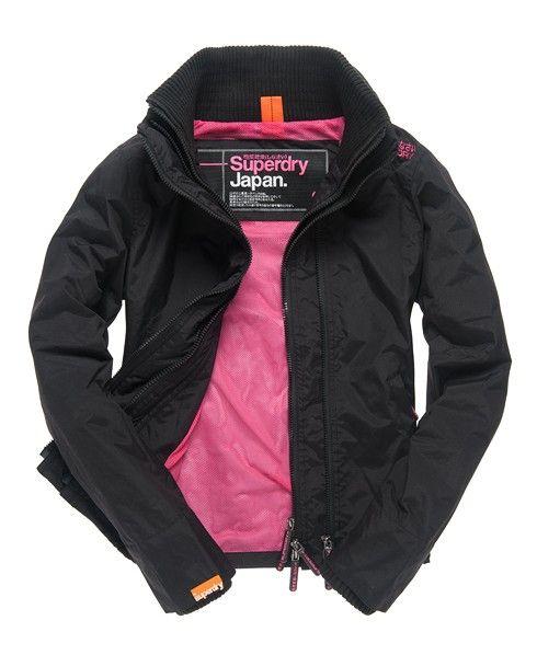 women superdry windcheater black 3 zippers