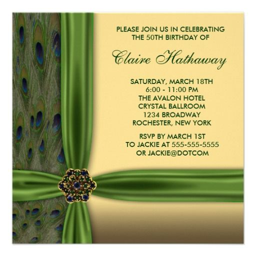 Emerald Peacock Gold 50Th Birthday Invitations | 50Th Birthday