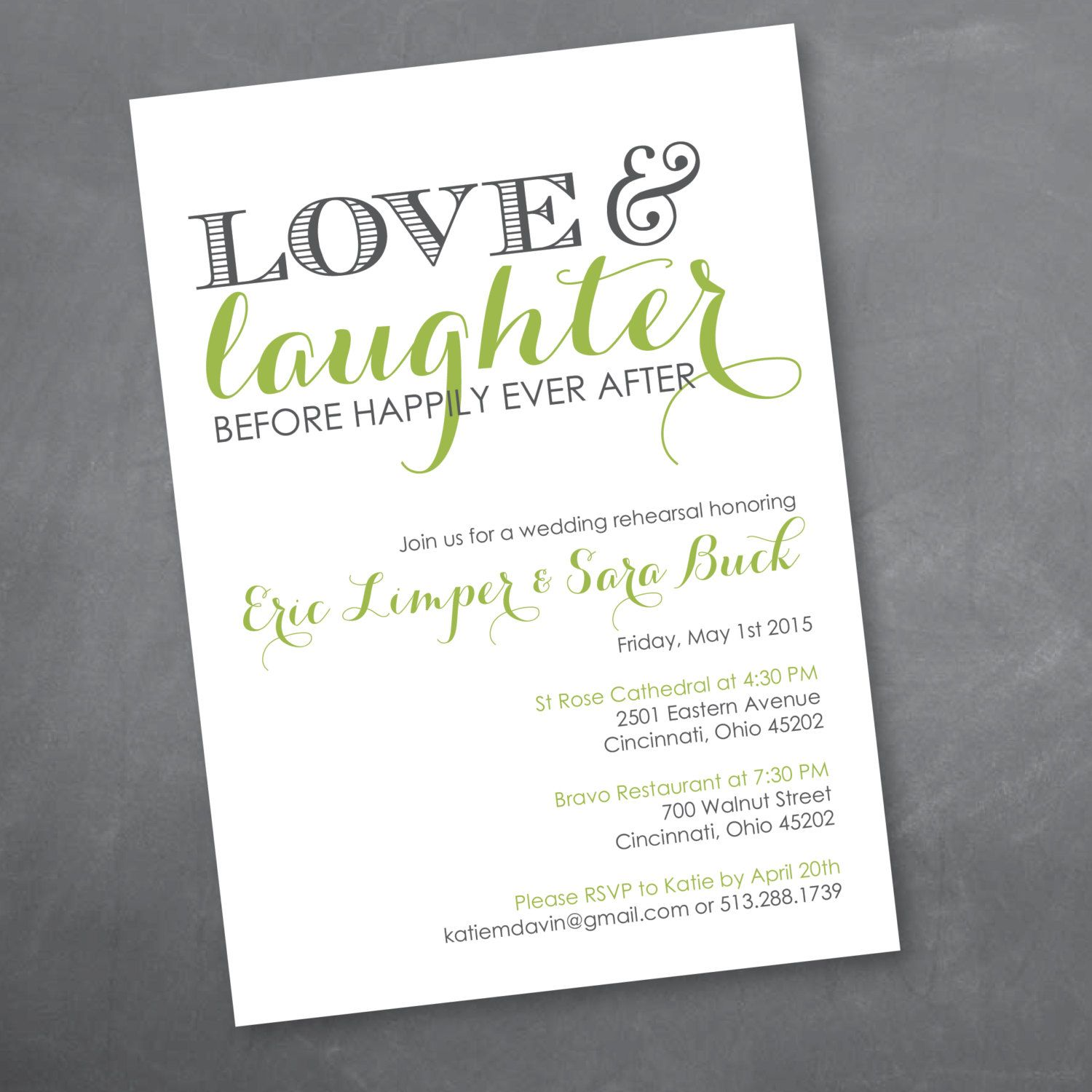 Love And Laughter Rehearsal Dinner Invitation By Kmddesignsllc