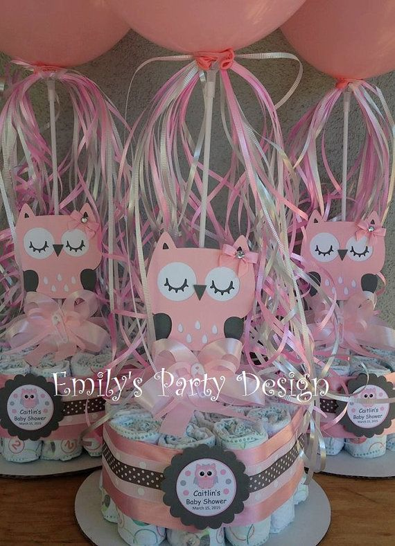 Owl baby shower diapers centerpiece with balloon diaper
