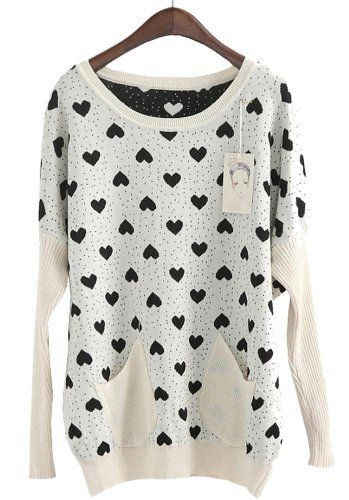 $26.13 nice Apricot Long Sleeve Hearts Pattern Loose Sweater