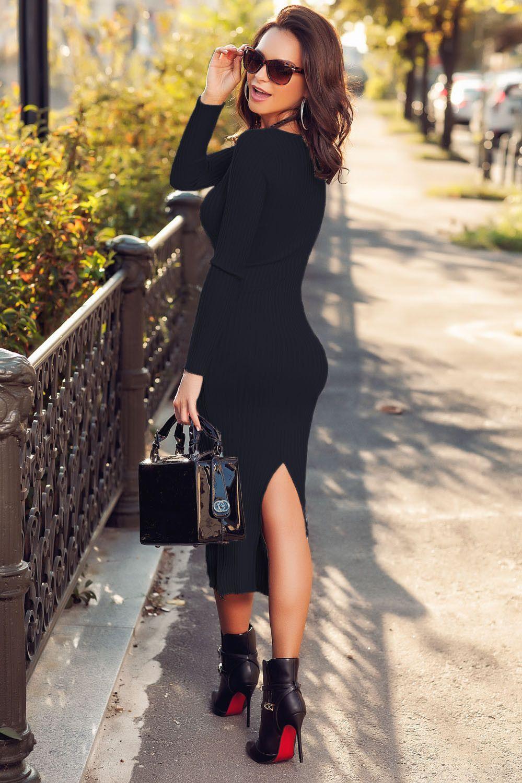Black Ribbed Bodycon Long Sleeve Back Midi Dress Sweater Dress in
