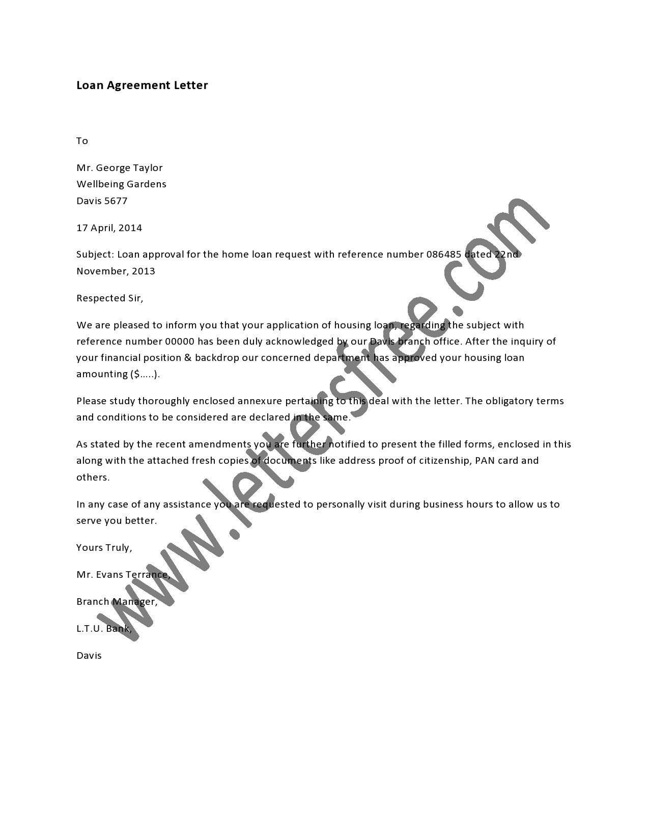 Loan Agreement Letter is usually a written contract between a – Agreement Letter for Loan
