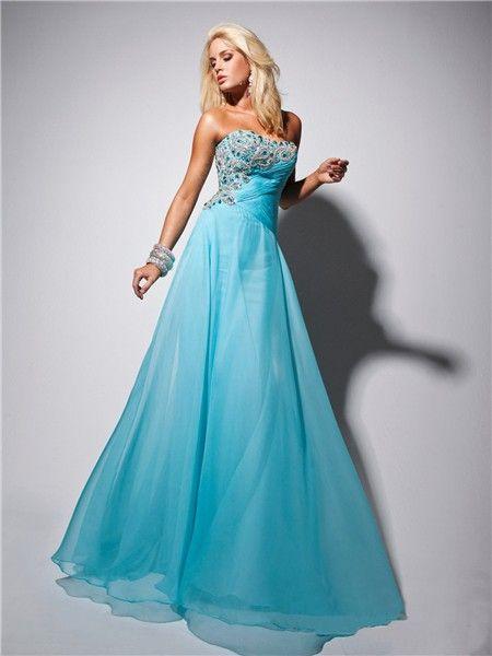 Light Blue Long Prom Dresses | ... » Elegant Strapless Long Light ...