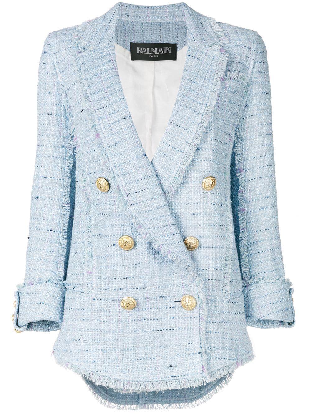 bc2adbd2f04b Balmain двубортный твидовый пиджак   Наряды   Твидовый пиджак ...