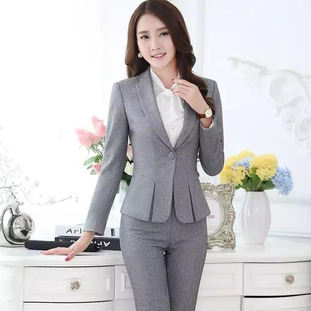 Trajes pantalón formales para mujeres trajes de negocios para conjuntos de  ropa de trabajo chaqueta gris para mujer oficina estilos uniformes trajes  de ... 3b6d7c329972